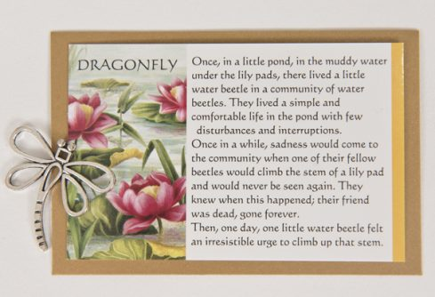 Dragonfly. Card with Dragonfly Charm