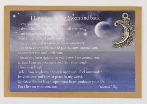 I Love You to the Moon and Back. Card with Moon Charm.