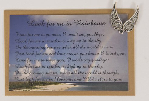 Look For Me In Rainbows. Card with Angel Wings Charm