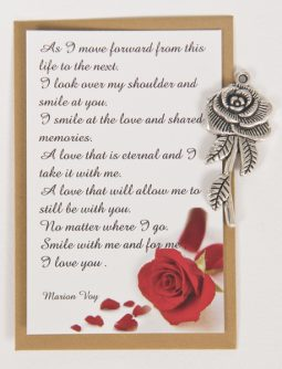 Remembrance Card  The Rose with silver Rose charm